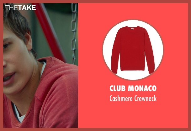 Club Monaco red crewneck from The Fault In Our Stars seen with Ansel Elgort (Augustus Waters)