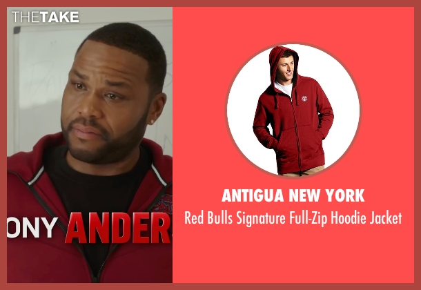 Antigua New York red jacket from Barbershop: The Next Cut seen with Anthony Anderson (J.D.)
