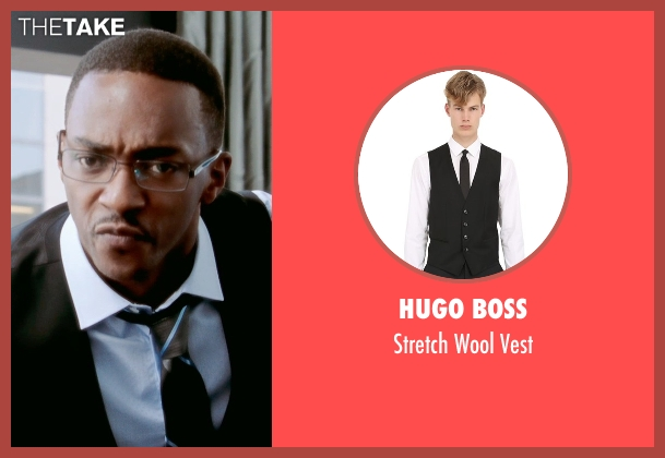 Hugo Boss black vest from Black or White seen with Anthony Mackie (Jeremiah Jeffers)