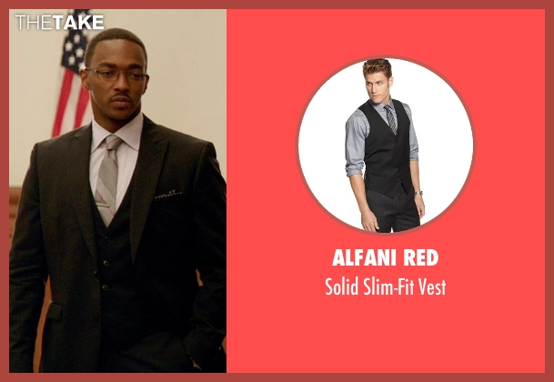 Alfani Red black vest from Black or White seen with Anthony Mackie (Jeremiah Jeffers)