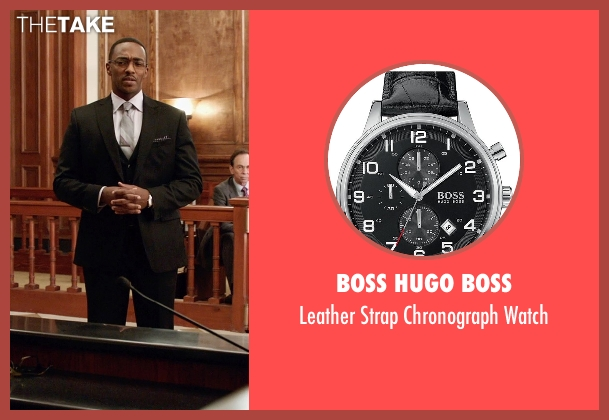 Boss Hugo Boss black watch from Black or White seen with Anthony Mackie (Jeremiah Jeffers)