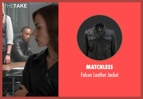 Matchless black jacket from Captain America: Civil War seen with Anthony Mackie (Sam Wilson / Falcon)