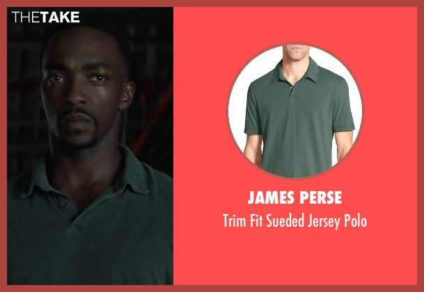 James Perse gray polo from Captain America: Civil War seen with Anthony Mackie (Sam Wilson / Falcon)