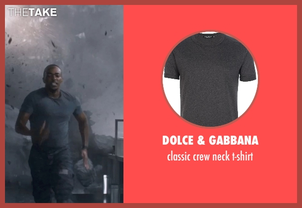 DOLCE & GABBANA gray t-shirt from Captain America: The Winter Soldier seen with Anthony Mackie (Sam Wilson / Falcon)