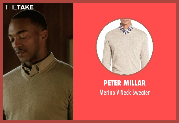 Peter Millar beige sweater from Our Brand Is Crisis seen with Anthony Mackie (Ben)