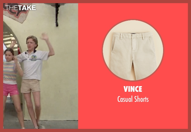 Vince beige shorts from Vacation seen with Anthony Michael Hall (Rusty Griswold)