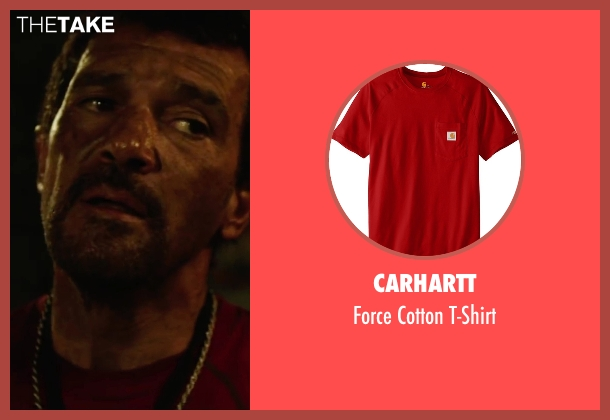 Carhartt red t-shirt from The 33 seen with Antonio Banderas (Mario Sepúlveda)