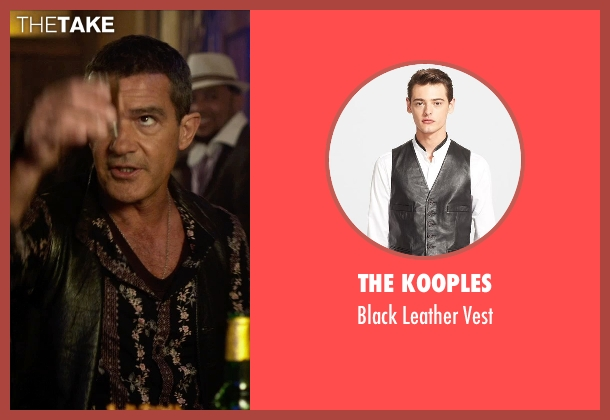 The Kooples black vest from The Expendables 3 seen with Antonio Banderas (Galgo)