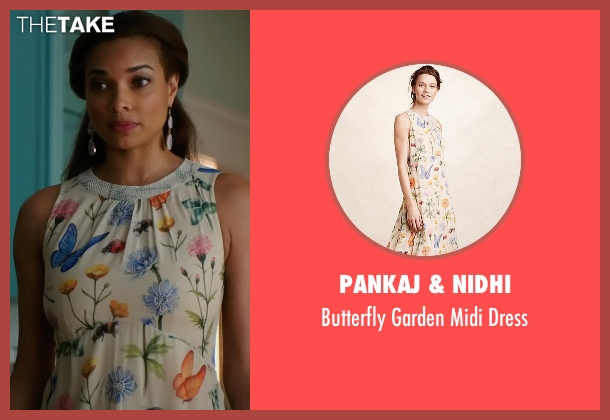 Pankaj & Nidhi beige dress from Mistresses seen with April Malloy (Rochelle Aytes)