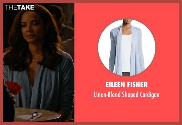 Eileen Fisher blue cardigan from Mistresses seen with April Malloy (Rochelle Aytes)