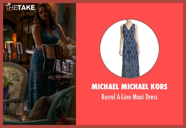 Michael Michael Kors blue dress from Mistresses seen with April Malloy (Rochelle Aytes)