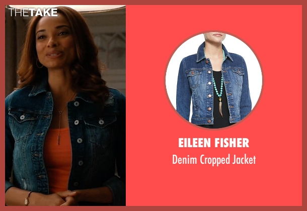 Eileen Fisher blue jacket from Mistresses seen with April Malloy (Rochelle Aytes)