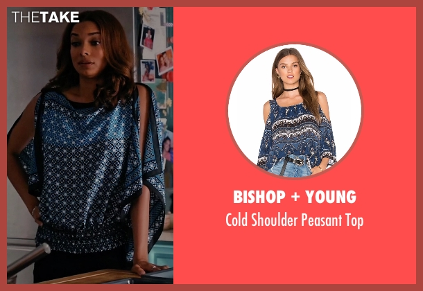 Bishop + Young blue top from Mistresses seen with April Malloy (Rochelle Aytes)