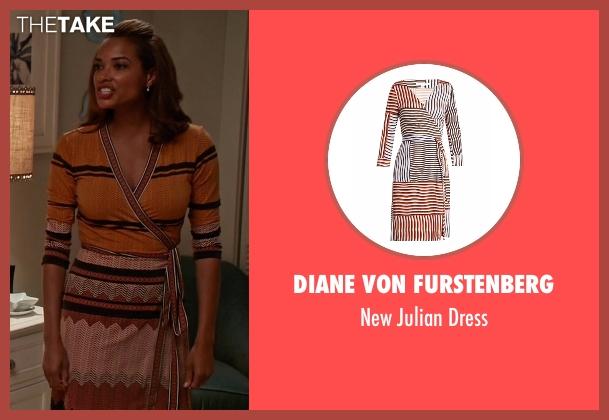 Diane Von Furstenberg orange dress from Mistresses seen with April Malloy (Rochelle Aytes)