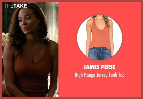 James Perse orange top from Mistresses seen with April Malloy (Rochelle Aytes)