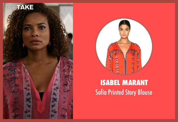 Isabel Marant pink blouse from Mistresses seen with April Malloy (Rochelle Aytes)