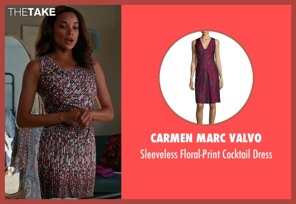 Carmen Marc Valvo pink dress from Mistresses seen with April Malloy (Rochelle Aytes)