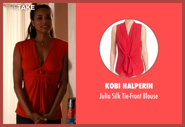 Kobi Halperin red blouse from Mistresses seen with April Malloy (Rochelle Aytes)