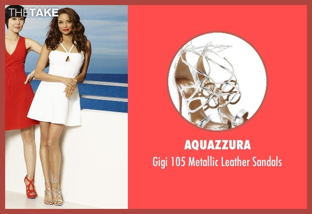 Aquazzura silver sandals from Mistresses seen with April Malloy (Rochelle Aytes)