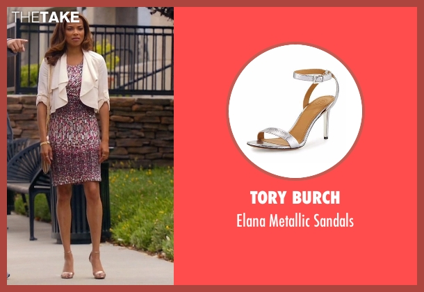 Tory Burch silver sandals from Mistresses seen with April Malloy (Rochelle Aytes)