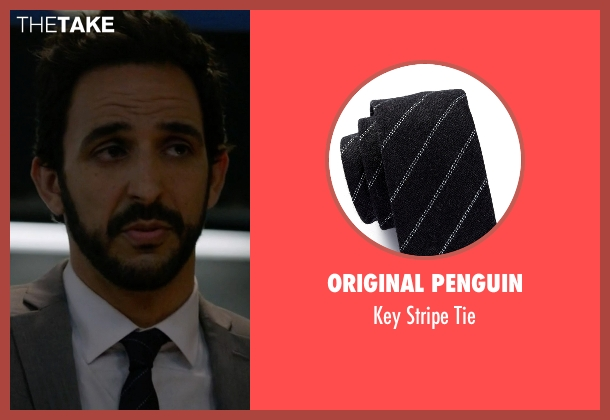 Original Penguin black tie from The Blacklist seen with Aram Mojtabai (Amir Arison)