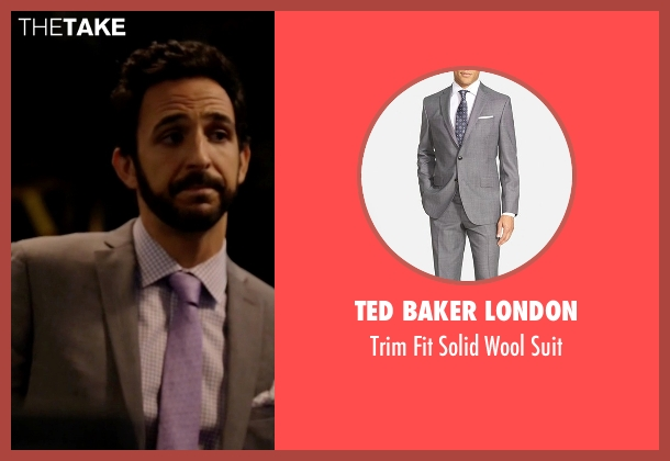 Ted Baker London gray suit from The Blacklist seen with Aram Mojtabai (Amir Arison)