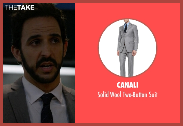 Canali gray suit from The Blacklist seen with Aram Mojtabai (Amir Arison)