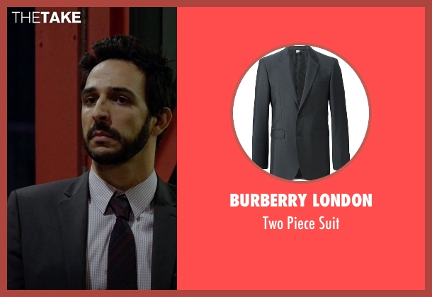 Burberry London gray suit from The Blacklist seen with Aram Mojtabai (Amir Arison)