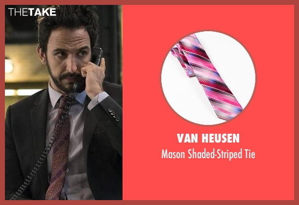 Van Heusen pink tie from The Blacklist seen with Aram Mojtabai (Amir Arison)