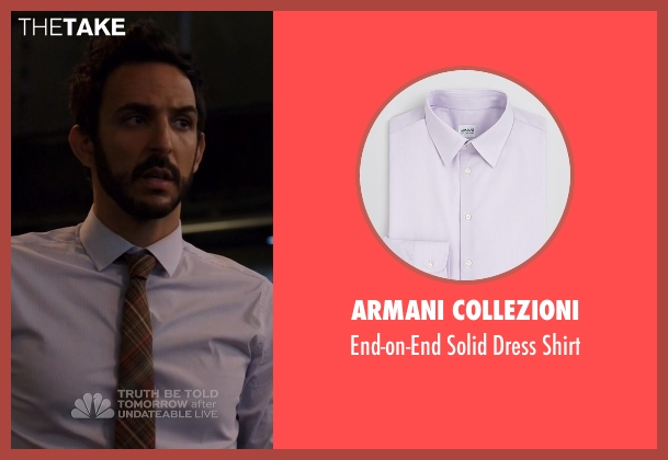 Armani Collezioni purple shirt from The Blacklist seen with Aram Mojtabai (Amir Arison)