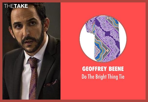 Geoffrey Beene purple tie from The Blacklist seen with Aram Mojtabai (Amir Arison)