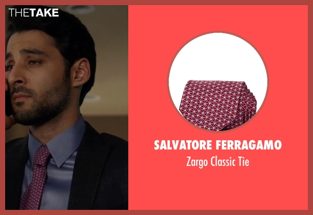 Salvatore Ferragamo purple tie from The Blacklist seen with Aram Mojtabai (Amir Arison)