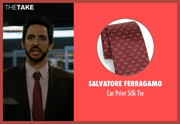 Salvatore Ferragamo red tie from The Blacklist seen with Aram Mojtabai (Amir Arison)