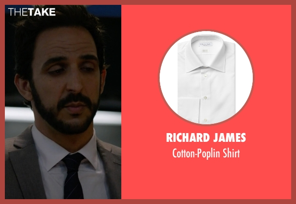 Richard James white shirt from The Blacklist seen with Aram Mojtabai (Amir Arison)