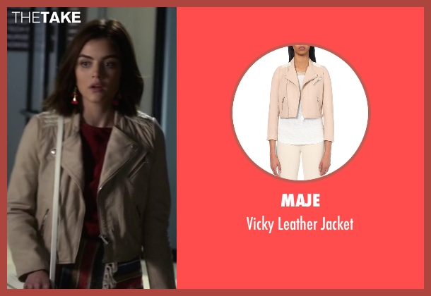 Maje beige jacket from Pretty Little Liars seen with Aria Montgomery (Lucy Hale)