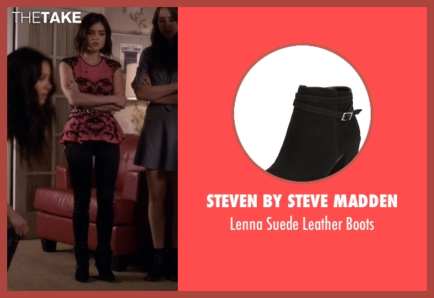Steven By Steve Madden black boots from Pretty Little Liars seen with Aria Montgomery (Lucy Hale)