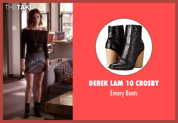 Derek Lam 10 Crosby black boots from Pretty Little Liars seen with Aria Montgomery (Lucy Hale)