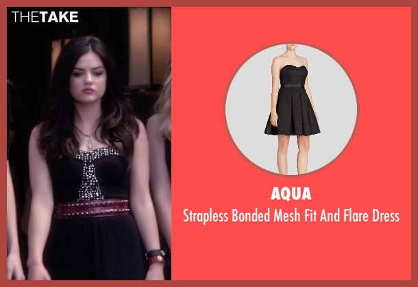 Aqua black dress from Pretty Little Liars seen with Aria Montgomery (Lucy Hale)