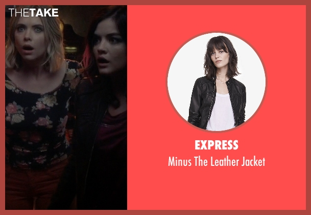 Express black jacket from Pretty Little Liars seen with Aria Montgomery (Lucy Hale)