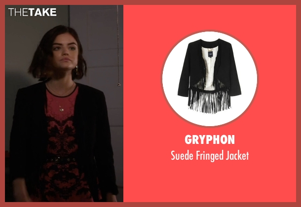 Gryphon black jacket from Pretty Little Liars seen with Aria Montgomery (Lucy Hale)