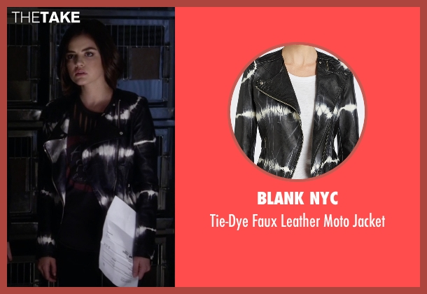 Blank NYC black jacket from Pretty Little Liars seen with Aria Montgomery (Lucy Hale)