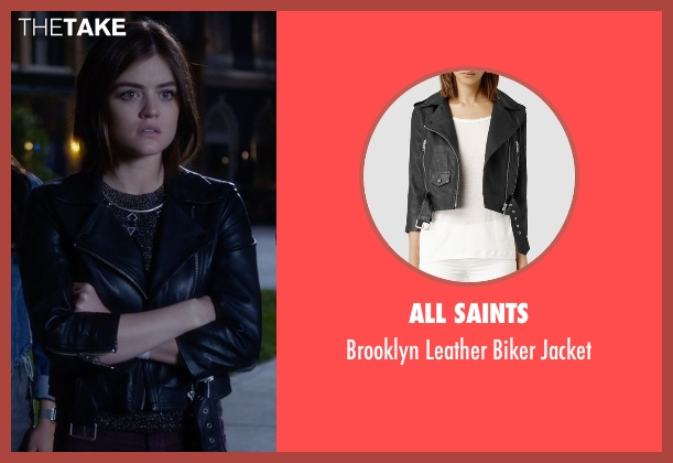 All Saints black jacket from Pretty Little Liars seen with Aria Montgomery (Lucy Hale)