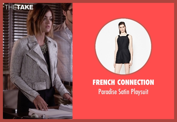 French Connection black playsuit from Pretty Little Liars seen with Aria Montgomery (Lucy Hale)