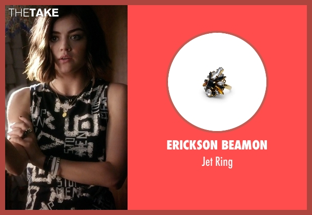 Erickson Beamon black ring from Pretty Little Liars seen with Aria Montgomery (Lucy Hale)