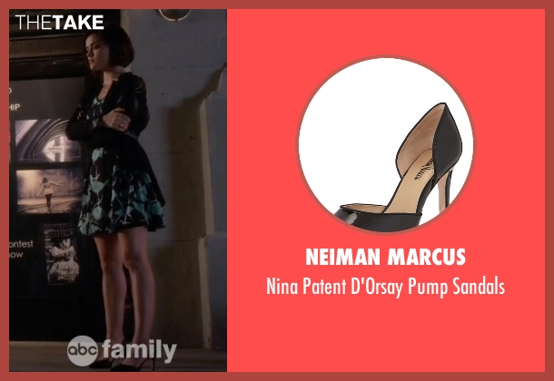 Neiman Marcus black sandals from Pretty Little Liars seen with Aria Montgomery (Lucy Hale)