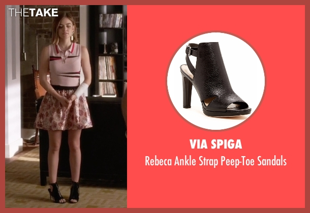 Via Spiga black sandals from Pretty Little Liars seen with Aria Montgomery (Lucy Hale)