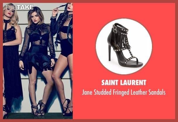 Saint Laurent black sandals from Pretty Little Liars seen with Aria Montgomery (Lucy Hale)