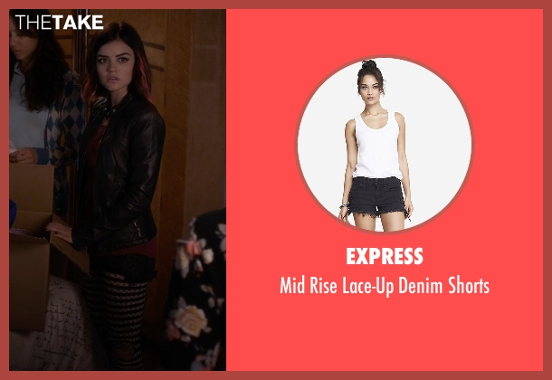 Express black shorts from Pretty Little Liars seen with Aria Montgomery (Lucy Hale)