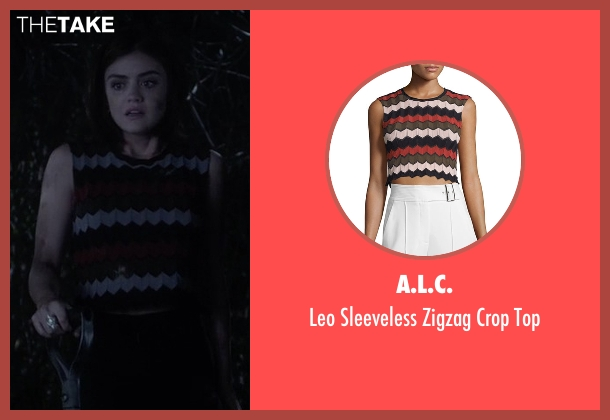 A.L.C. black top from Pretty Little Liars seen with Aria Montgomery (Lucy Hale)