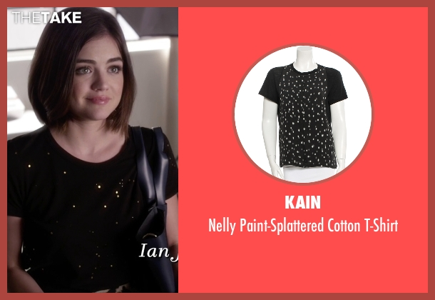 Kain black t-shirt from Pretty Little Liars seen with Aria Montgomery (Lucy Hale)